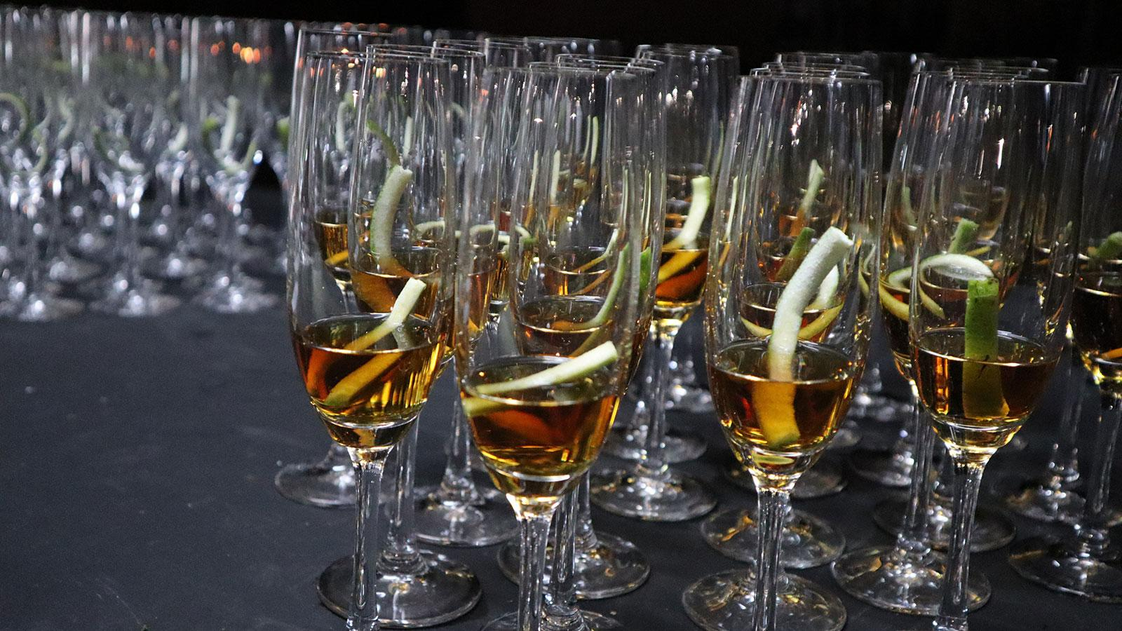 Flutes of Cuban rum at the ready