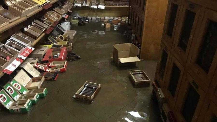 Goodwin returned to Cigar Towne to find dozens of cigar boxes soaking on the floor of his humidor.