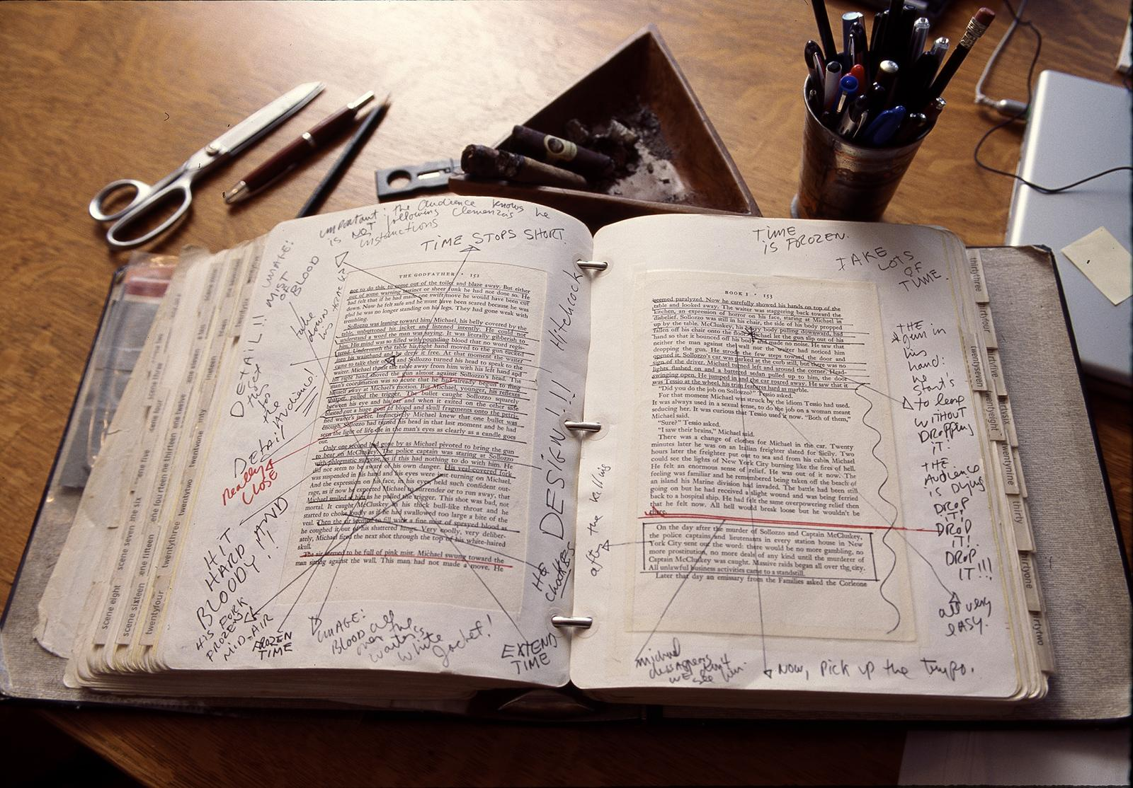 To plan the film, Coppola made extensive notes in a copy of Puzo's novel.