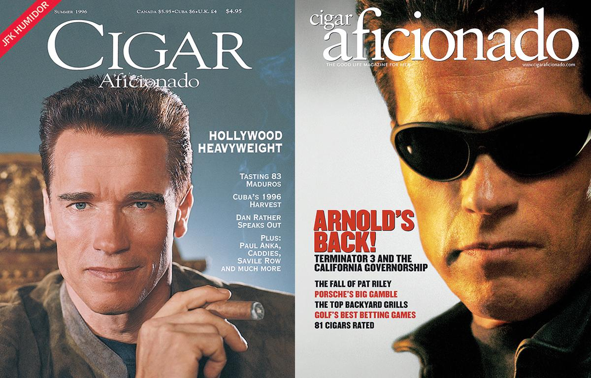Schwarzenegger has appeared on the cover of Cigar Aficionado twice before. First during the Summer of 1996 and again in July/August 2003.