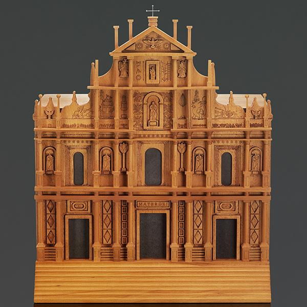 The new humidor is a wooden replica of the Ruins of St. Paul, a 17th century church built by Jesuits in 1640.
