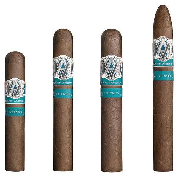 Avo Syncro South America Ritmo, from left: Robusto, 5 inches by 50 ring; Toro, 6 by 54; Special Toro, 6 by 60 and Torpedo Largo, 7 by 54.