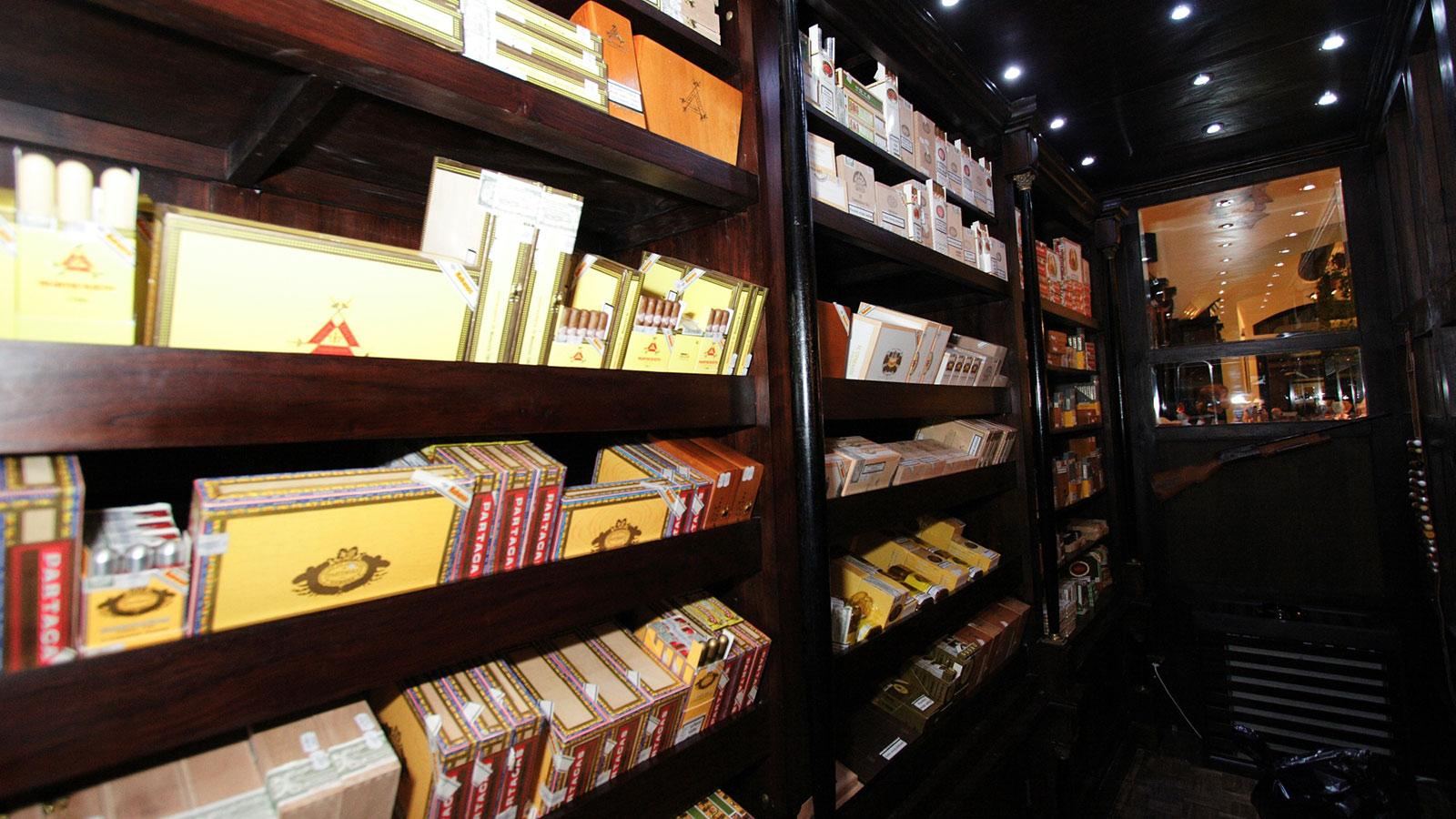 A glimpse inside the humidor at Prague's La Casa del Habano.