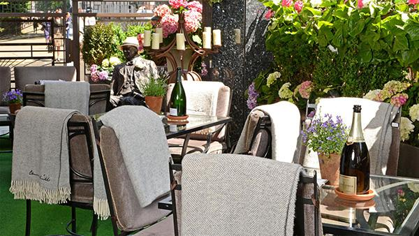 The outdoor terrace at The Churchill.