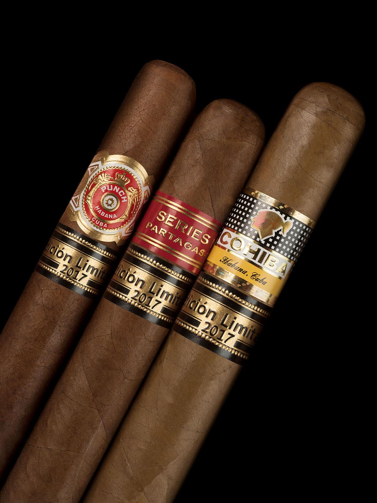 The new lineup of Edición Limitada cigars for 2017, from left: The Punch Regios de Punch, Partagás Serie No. 1 and the Cohiba Talismán.
