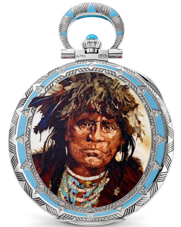 A pocket watch with a wood marquetry portrait of a Native American in full regalia.