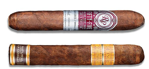The Rocky Patel 55 Robusto (top) and E.P. Carrillo Inch Natural No. 60 (bottom) provided a wide flavor spectrum to pair with ryes.