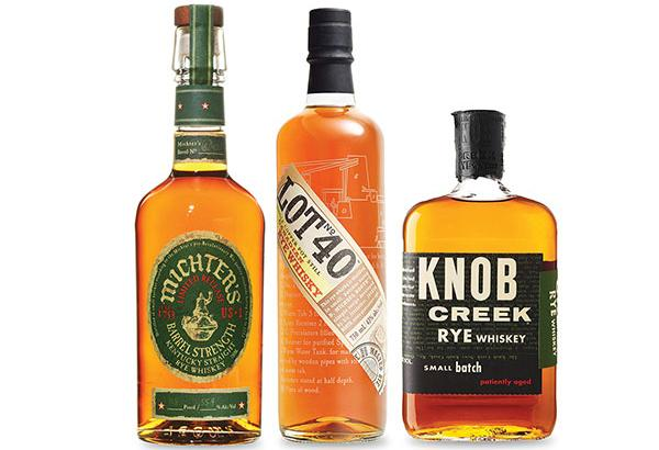 From left: Michter's Barrel Strength U.S. 1 Rye, Lot No. 40 and Knob Creek Straight Rye.