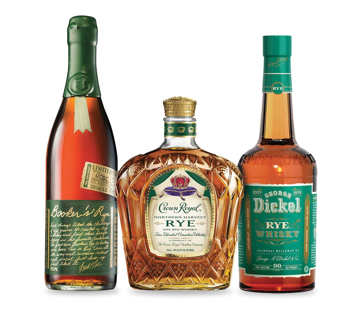 From left: Booker's Rye The Big Time Batch, Crown Royal Northern Harvest Rye and George Dickel Rye Whisky.
