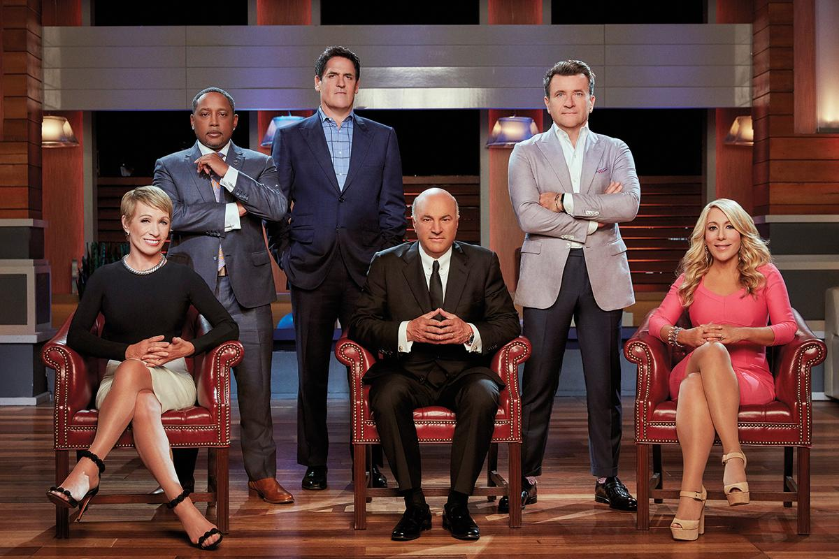 The sharks, from left, Barbara Corcoran, John, Mark Cuban, Kevin O'Leary, Robert Herjavec and Lori Greiner.