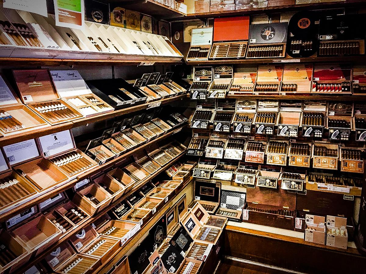 The Humidor offers about 200 cigar choices from brands like Davidoff, Rocky Patel, Montecristo and Ashton.