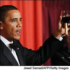 President Obama accepts both the Nobel Peace Prize and a glass of Robert Mondavi Cabernet.