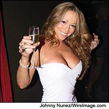 Pop diva Mariah Carey toasts her new Champagne label.