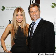 Reality TV star and outspoken vegan Simone Reyes poses with Farm Sanctuary founder Gene Baur.