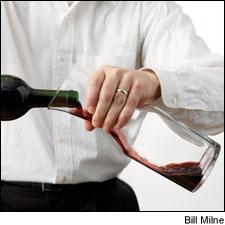 Pour slowly and stop when you see sediment reach the neck of the bottle.