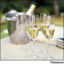 Whites and sparkling wines need to be kept chilled to preserve their freshness; to quickly cool a botle, stick it in a mix of water and ice, not just ice alone.