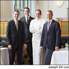 New York City has two new Grand Award winners, Gilt and Eleven Madison Park, above. From left: wine director John Ragan, general manager Will Guidara, chef Daniel Humm and owner Danny Meyer.