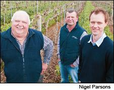 Ed Schild, Michael Schild and winemaker Scott Hazeldine stand in one of their Barossa vineyards.