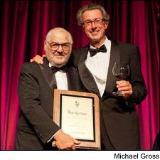 Marvin R. Shanken presented the 2011 Distinguished Service Award to Christian Moueix.