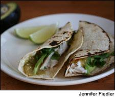 Fish Tacos with Roasted Salsa Verde