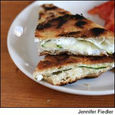 Grilled Goat Cheese, Green Olive and Zucchini Sandwiches with Fresh Tomato Salad
