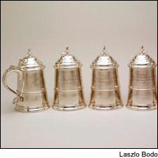 Hundreds of artifacts, like these silver wine cups, illustrate early American wine appreciation.