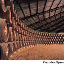 Hundreds of casks represented hundreds of years' worth of wines at Gonzales Byass' solera.