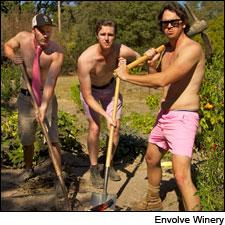 The men of Envolve Winery help root out breast cancer in seasonally appropriate garb for Sonoma.