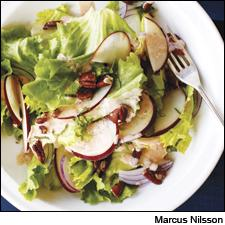 In this fresh and crunchy salad, yogurt, maple syrup and Sherry vinegar stand in for an oil-based dressing.