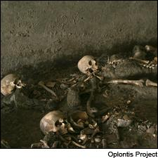 A few of the 54 skeletons discovered at Oplontis B, waiting for a ship to save them from the Vesuvius blast.