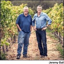 Bob Lindquist (left) and Charles Banks in the Bien Nacido vineyard, one of Qupé winery's top spots for purchased fruit.