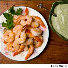 Roasted Shrimp Cocktail with Creamy Basil and Avocado Dressing