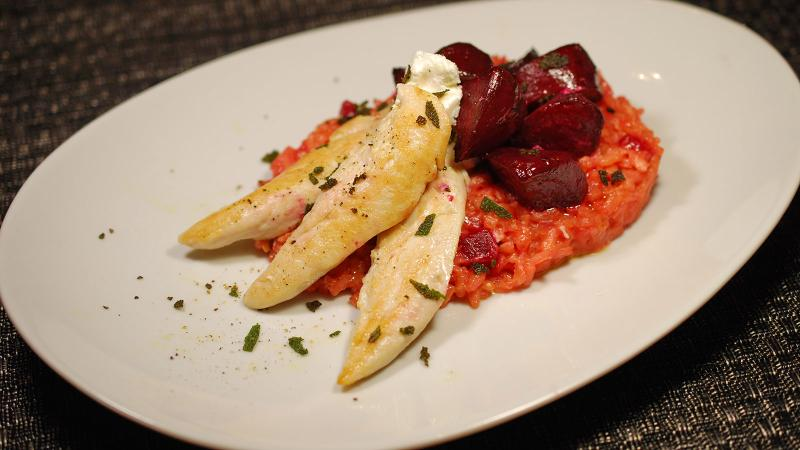 Beets add festive color to risotto with herbed chicken tenders.
