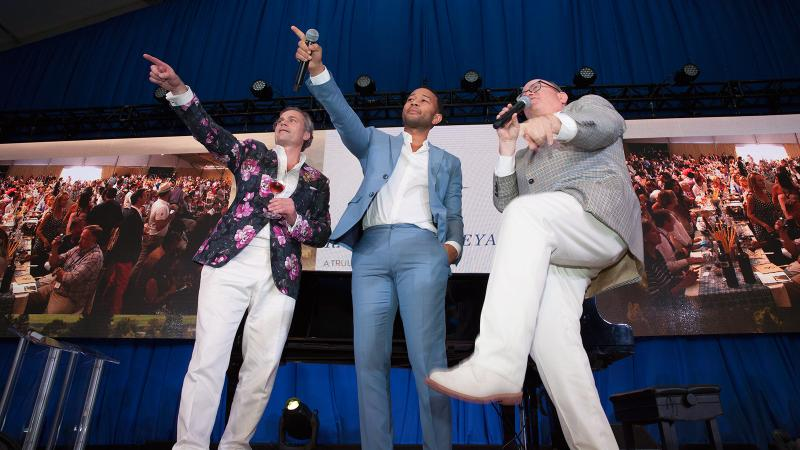 Jean-Charles Boisset, John Legend and Fritz Hatton (left to right) work the crowd at Auction Napa Valley.