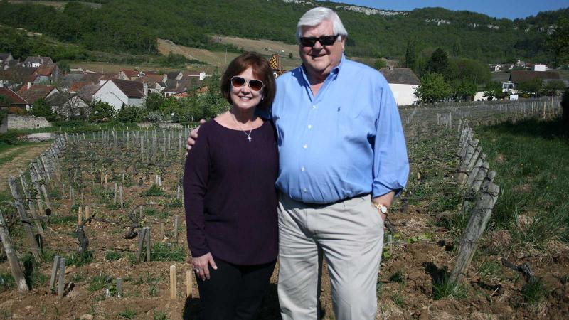 Grace and Ken Evenstad visit the Clos de la Confrérie vineyard in Santenay, one of the parcels they purchased.