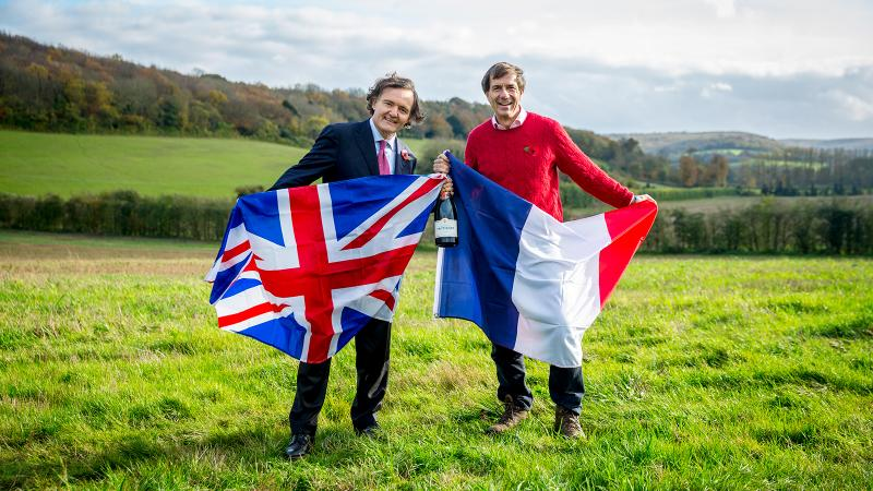 Pierre-Emmanuel Taittinger (left) joins Patrick McGrath of UK importer Hatch Mansfield on the land where they plan to plant Domaine Evremond.