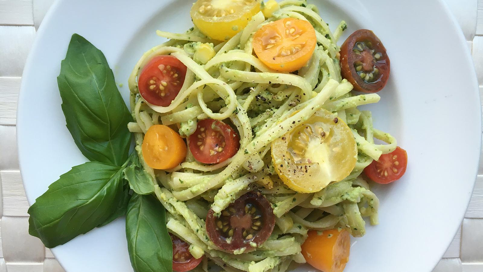 8 & $20: Avocado-Basil Pasta with a Creamy Italian White