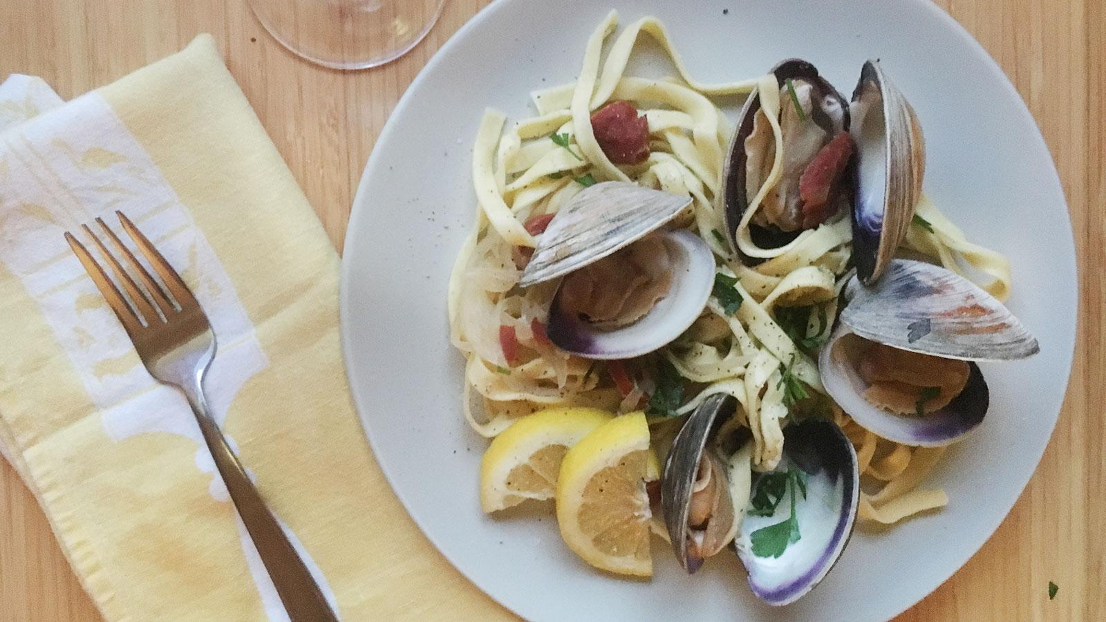 8 & $20: Clam and Chorizo Pasta with a Crisp Rosé