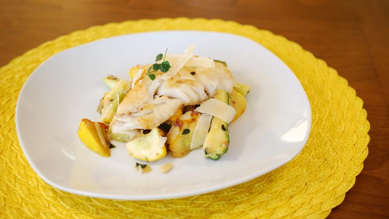 This dish's mild flavors call for a fresh white wine to support and accentuate the different elements.