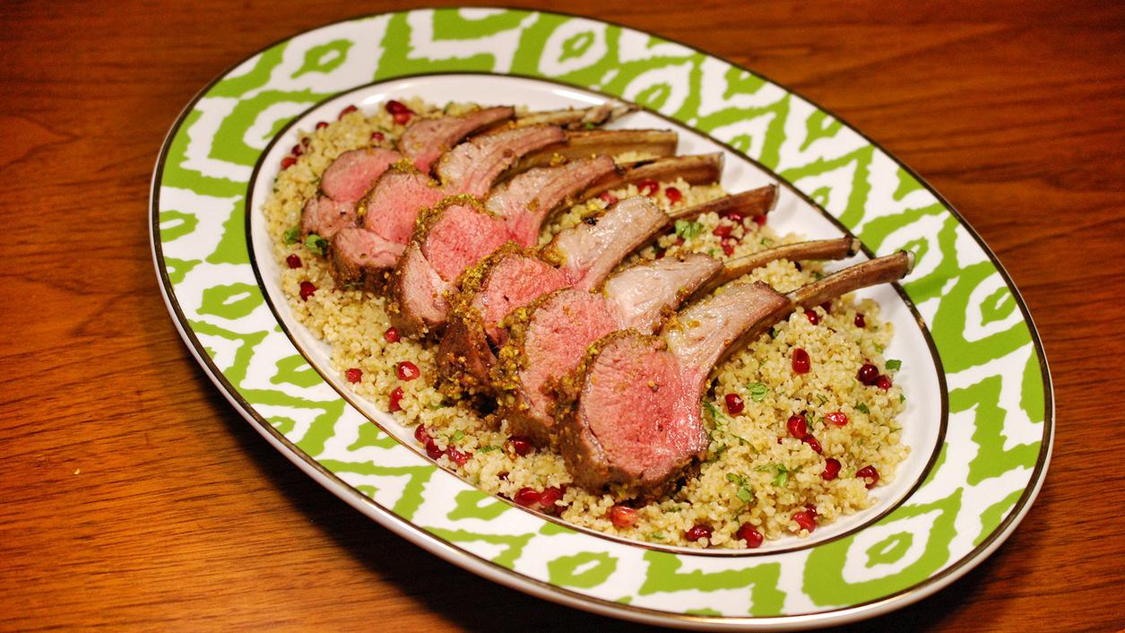 8 & $20: Pistachio-Crusted Rack of Lamb With Pomegranate-Mint Bulgur Wheat