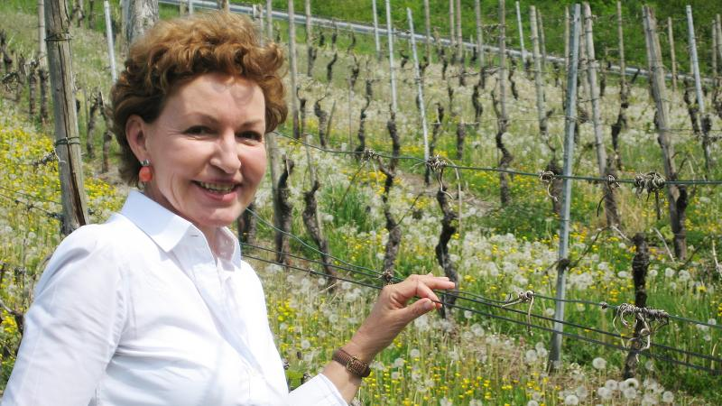 Annegret Reh-Gartner in one of her Mosel Valley vineyards; she made Rieslings of refinement and complexity.