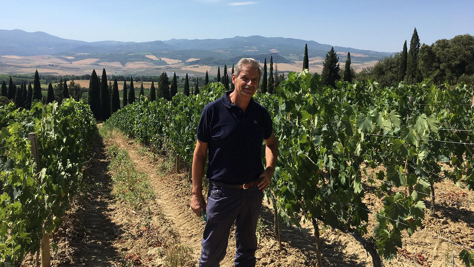 "Consultant Carlo Ferrini in his own Giodo vineyard: ""This is my dream."""