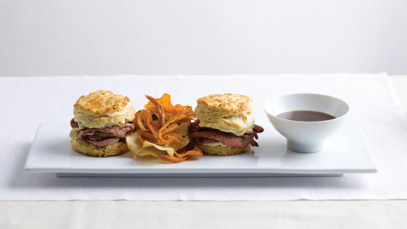 Put a Denver spin on the classic French dip with Colorado lamb sandwiches with goat cheese biscuits and lamb jus.
