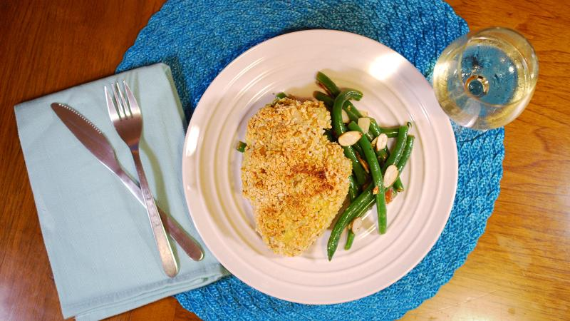 8 & $20: Cheese-Stuffed Chicken with Green Beans Amandine