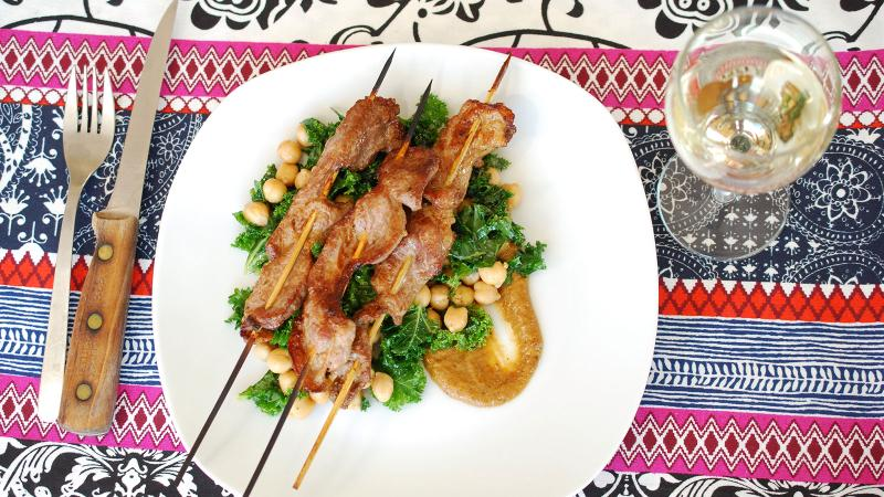 8 & $20: Pork Satay with Ginger-Soy Chickpea and Kale Salad