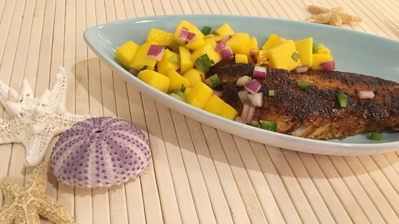 8 & $20: Blackened Snapper with Spicy Mango Salsa