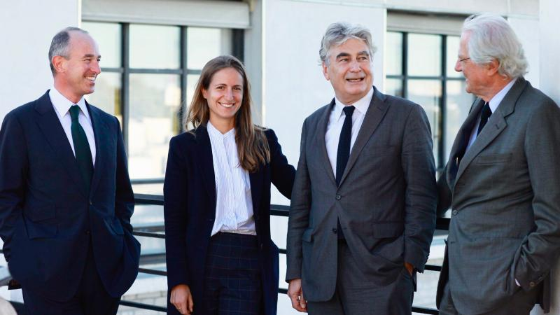Leaders, new and old, at Lafite: (left to right) Jean-Guillaume Prats, Saskia de Rothschild, Christophe Salin and Baron Eric de Rothschild.