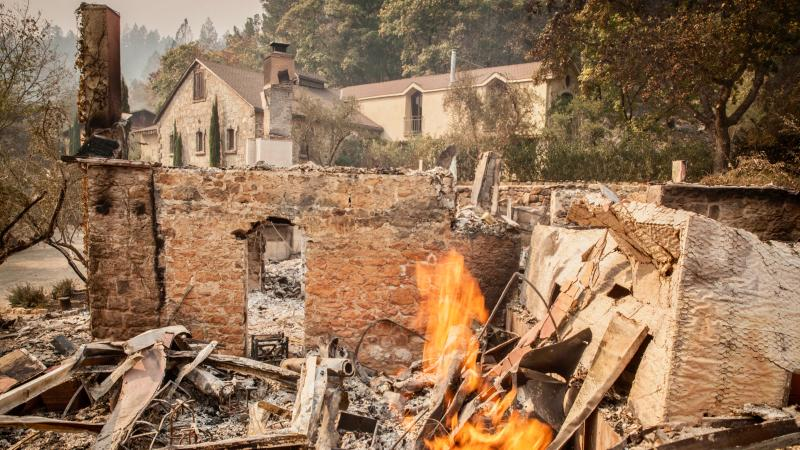 The tasting room at Mayacamas burned down, but the winery is standing.