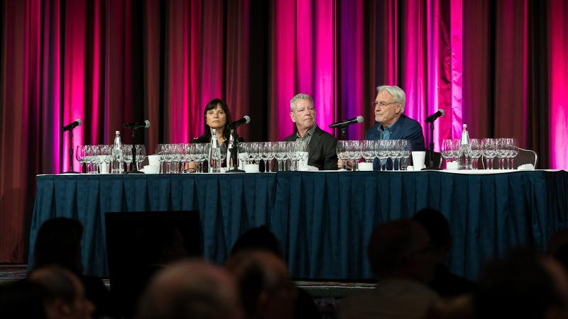 From left: Jackson Family's Barbara Banke, winemaker Randy Lewis and Wine Spectator senior editor James Laube