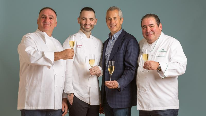 From left: José Andrés, Mario Carbone, Danny Meyer and Emeril Lagasse are all smiles before the gloves come off at the event.